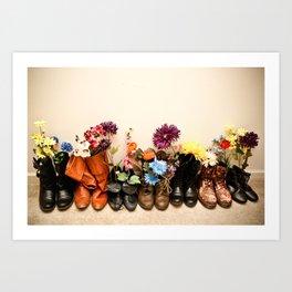 Boots and Florals Art Print