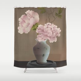 Chinese Pink Peonies in Vase Shower Curtain
