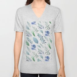 Pastel blue lavender green watercolor hand painted leaves Unisex V-Neck