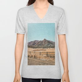 Flations Boulder // Colorado Mountain Landscape Fresh Snow Autumn Fence Teal Sky Unisex V-Neck