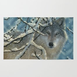 Wolf in Snow - Broken Silence Rug