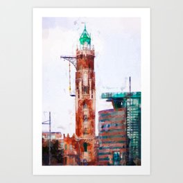 The old lighthouse and modern architecture Art Print