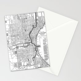 Vintage Map of Milwaukee Wisconsin (1891) BW Stationery Cards