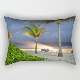 Beach fire in Cayman Islands Rectangular Pillow