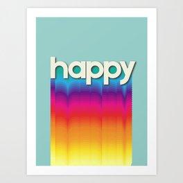 HAPPY - retro rainbow typography Art Print