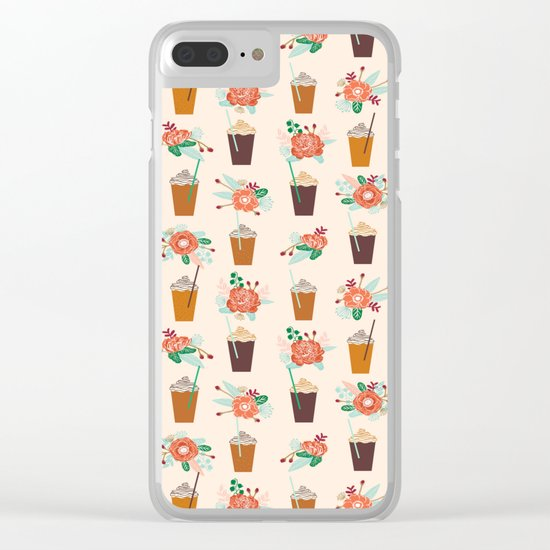 Coffee floral bouquet coffee lovers java bean cute pattern print for kitchen Clear iPhone Case
