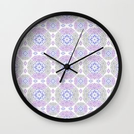 Delicate lace lilac and grey pattern . Wall Clock