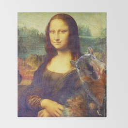 Mona Lisa Squirrel Photo Bomb Pop Art Throw Blanket