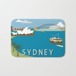 Sydney Harbour Retro Art Print Bath Mat