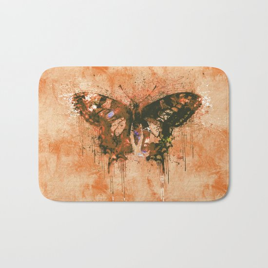 artistic watercolor butterfly painting artwork Bath Mat