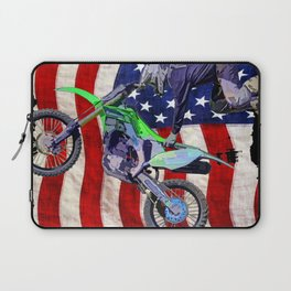 High Flying Freestyle Motocross Rider & US Flag Laptop Sleeve