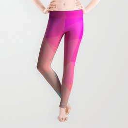 Dark Pink, Peach and Cyan Geometric Abstract Triangle Pattern Design  Leggings