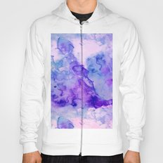 Peacock purple lavender hand painted bright abstract watercolor wash Hoody