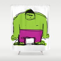 hulk Shower Curtains featuring Hulk by Remco Drijver