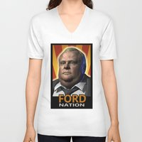 ford V-neck T-shirts featuring Ford Nation by RadiationLeak