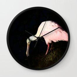 Roseate Spoonbill Pose Wall Clock