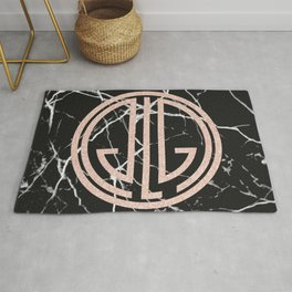 great Gatsby rose gold black marble Rug