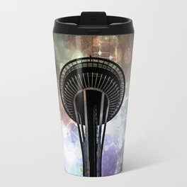 Space Needle - Seattle Stars and Clouds at Night Travel Mug
