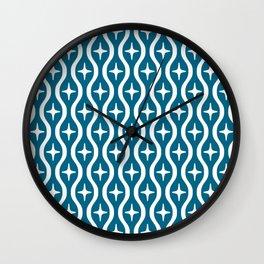 Mid century Modern Bulbous Star Pattern Peacock Blue Wall Clock