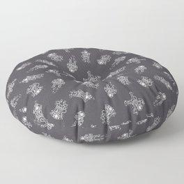 Cosmic Stranger Pattern in Grey Floor Pillow