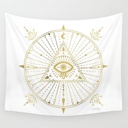 All-Seeing Eye Mandala – Gold Palette Wall Tapestry
