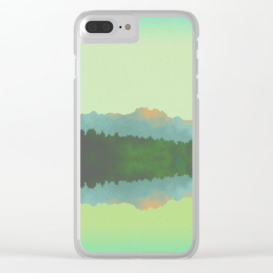 Lake Morning - Green Clear iPhone Case