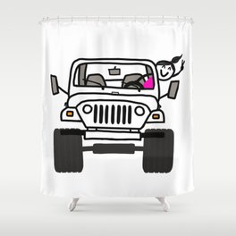 Jeep Wave White - Girl Shower Curtain