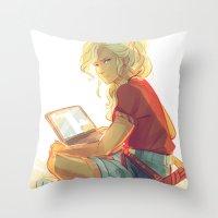 viria Throw Pillows featuring wise girl by viria