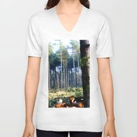 woods V-neck T-shirts featuring Woods by madbiffymorghulis