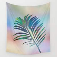 palm Wall Tapestries featuring Palm Leaf by Klara Acel