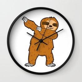 Dabbing sloth Wall Clock