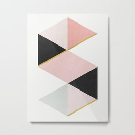 Art of triangles with gold Metal Print