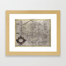 Vintage Map of Greece (1618) Framed Art Print