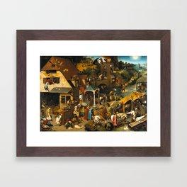 Pieter Bruegel the Elder - Netherlandish Proverbs Framed Art Print
