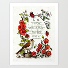 Bible Verses About LOVE, With Bird, Ladybugs, and Floral Art Art Print