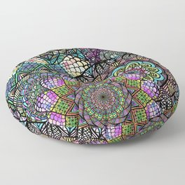 Colorful Floral Mandala Pattern with Geometric Drawings Floor Pillow