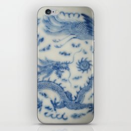 Damask vintage Monaco blue white girly ginger jar floral antique chinese dragon chinoiserie china iPhone Skin