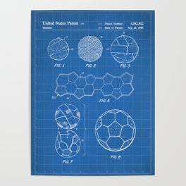 Soccer Ball Patent - Football Art - Blueprint Poster