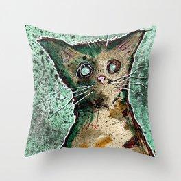 Turtle the turtle shell zombie kitten Throw Pillow