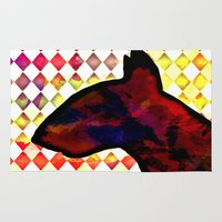 bull terrier Area & Throw Rugs featuring Bull Terrier Jester by Erin Conover