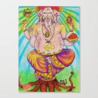 ganesha Canvas Prints featuring Ganesha by Lioz