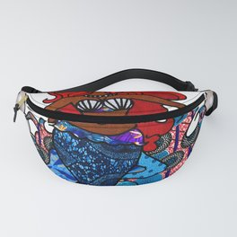 Yemaya African Fabric Collage with pearl heart design Fanny Pack