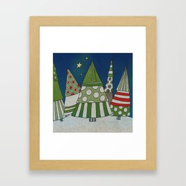 Night in the Winter Forest Framed Art Print