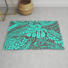 Teal Polynesian Tropical Leaf Design Rug