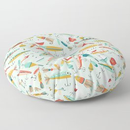 Fishing Lures Light Blue Floor Pillow