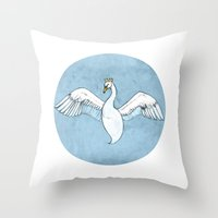 swan queen Throw Pillows featuring Swan Queen by Hatti Bailey
