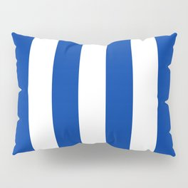 Dark Princess Blue and White Wide Vertical Cabana Tent Stripe Pillow Sham