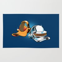 donald duck Area & Throw Rugs featuring Daft Duck by Manny Peters Art & Design