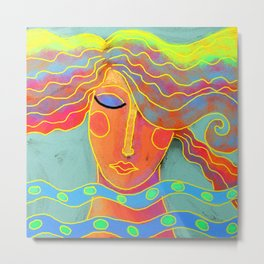 High Tide Abstract Digital Portrait of a Woman Metal Print