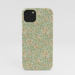 William Morris Vintage Honeysuckle Artichoke Plaster Pink Green Floral iPhone Case